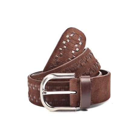 "Woven Suede Belt // Brown (35"" Length)"