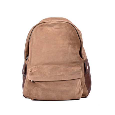 Suede Backpack // Beige