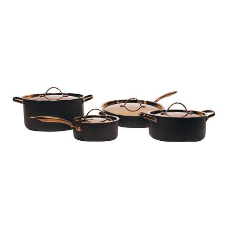 Ouro 8-Piece Hard Anodized Chef's Set // Black + Rose Gold