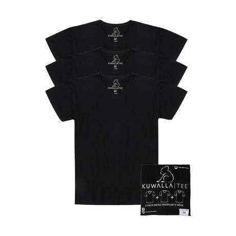 Essentials V-Neck Short-Sleeve Tee // Jet Black // Pack of 3 (S)