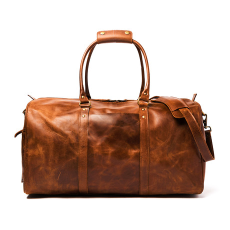 "Leather Travel Duffel Bag 21"" // Distressed Brown"