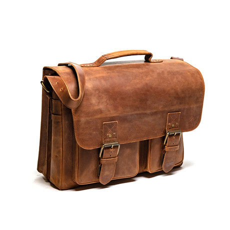 Front Pocket Leather Briefcase // Distressed Brown