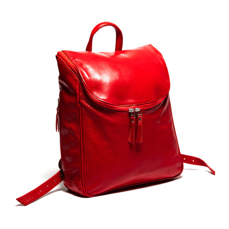 "Student Leather Backpack 14"" // Red"