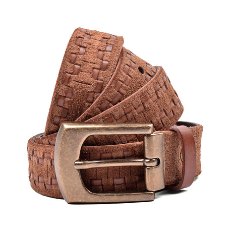 "Two Tone Stitched Leather Belt // Brown (37"" Length)"