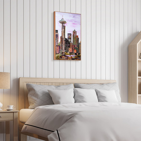 Seattle Skyline // Anodized Aluminum Rose Gold Frame