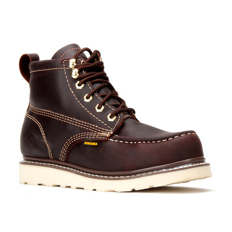 Bonanza // Men's 6'' Steel Toe Moc-Toe Wedge Boots // Burgundy (US: 5)