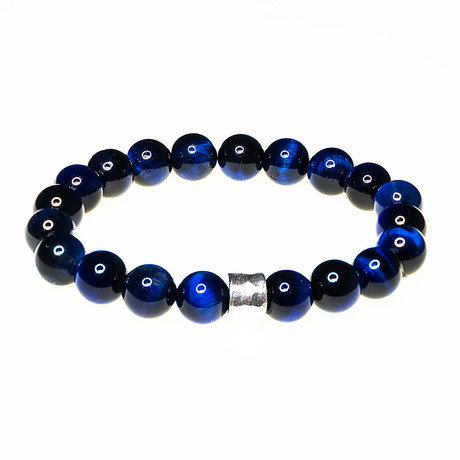Dell Arte // Tiger Eye Beads Bracelet // Sterling Silver + Blue