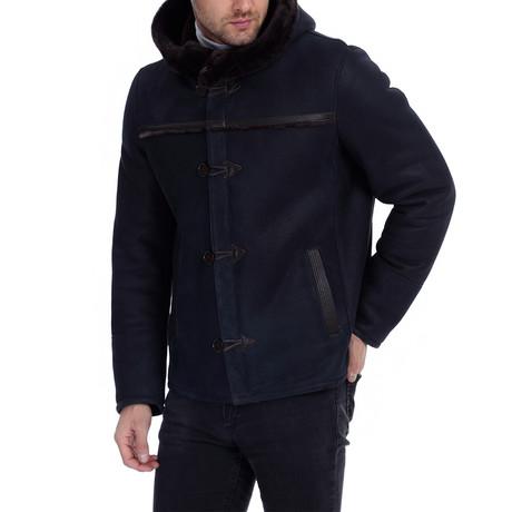 Ardal Leather Jacket // Navy Blue (XS)
