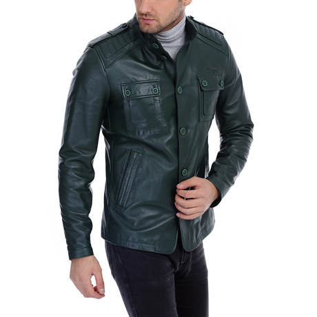Tobey Leather Jacket // Green (XS)