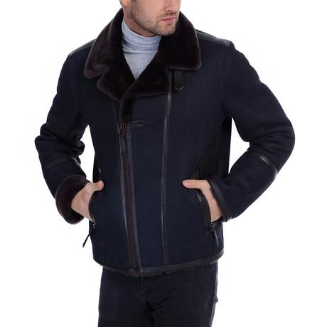 Salih Leather Jacket // Navy Blue (XS)