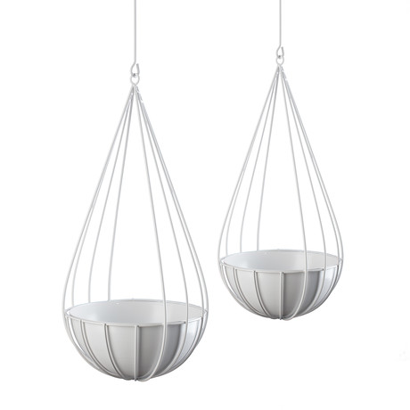 Raindrop Hanging Planter // Set of 2 (Glossy White)