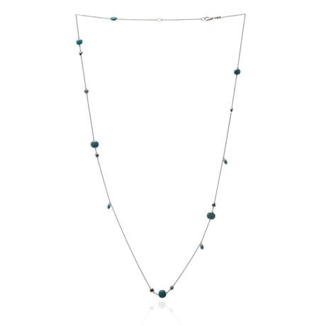 Roberto Coin 18k White Gold Diamond + Turquoise Necklace