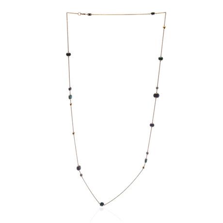Roberto Coin 18k Rose Gold Diamond + Black Jade Necklace