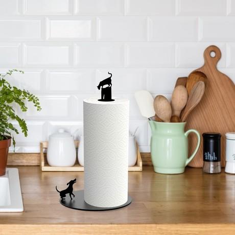 Dog Vs. Cat // Paper Towel Holder (Black)