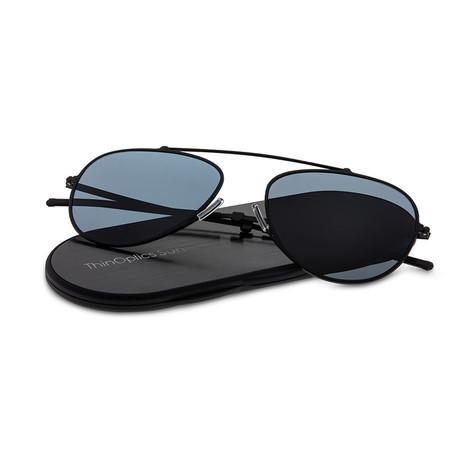 ThinOptics Suns // Aviator + Case // Black Frame + Gray Flash Mirror Lens
