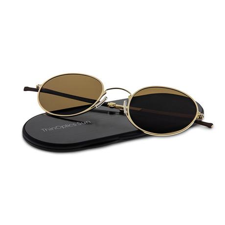 ThinOptics Suns // Round + Case // Gold Frame + Brown Lens