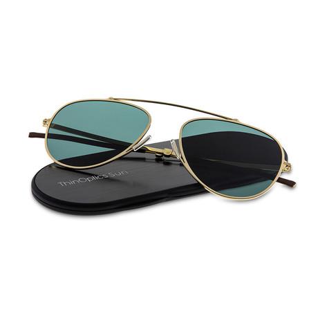 ThinOptics Suns // Aviator + Case // Gold Frame (Brown Lens)