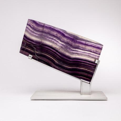 Purple Fluorite Slice + Aluminium Stand