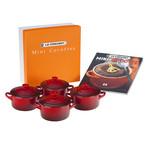 Set of 4 Cocottes + Mini-Cocotte Cookbook (Deep Teal)