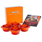 Set of 4 Cocottes + Mini-Cocotte Cookbook (Flame)