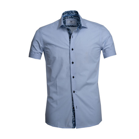Short Sleeve Button Up // Solid Light Blue (S)