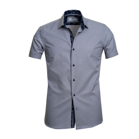 Short Sleeve Button Up // Solid Gray (S)