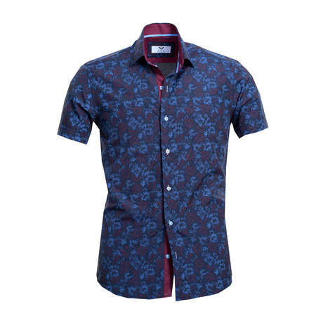 Short Sleeve Button Up // Navy Blue Floral (S)