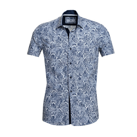 Short Sleeve Button Up // White + Navy Blue Paisley (S)