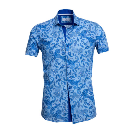 Short Sleeve Button Up // Blue Paisley (S)