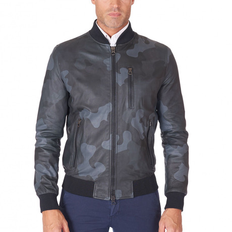 Gaudil Bomber Leather Jacket // Blue Camouflage (Euro: 44)