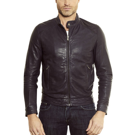 Ted-blue Biker Leather Jacket // Blue (Euro: 44)