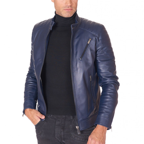U411 Biker Leather Quilted Jacket// Blue (Euro: 44)