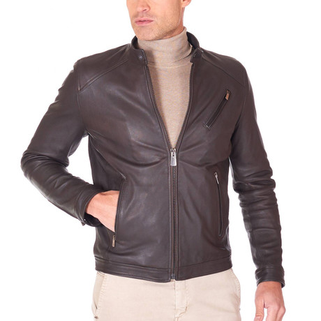 Carson Biker Leather Jacket // Brown (Euro: 44)
