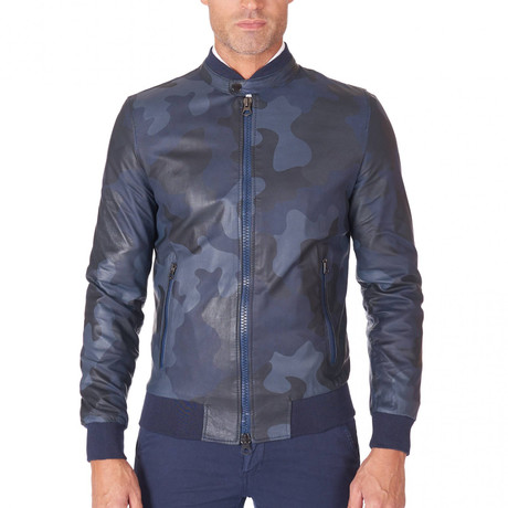 Gaudi Bomber Leather Jacket // Dark Navy Camouflage (Euro: 44)