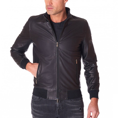 College Bomber Leather Jacket // Black (Euro: 44)