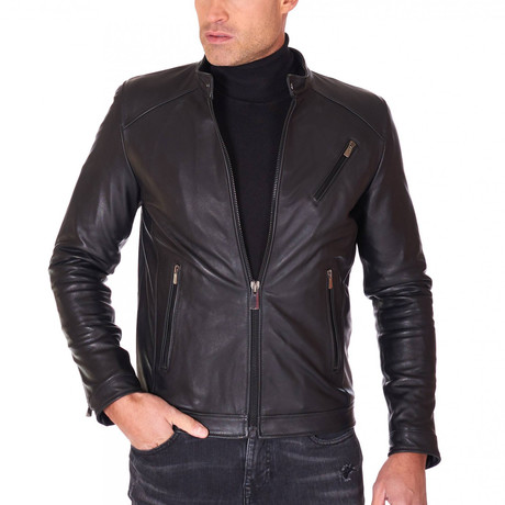 Carson Biker Leather Jacket // Black (Euro: 44)