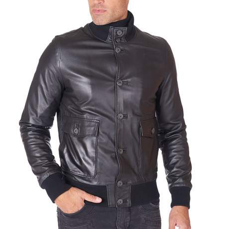 Alex-bottoni Bomber Jacket Leather Jacket // Black (Euro: 44)