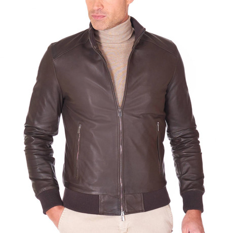 College Bomber Leather Jacket // Brown (Euro: 44)