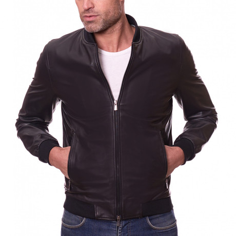 Bomber Leather Jacket // Black (Euro: 44)