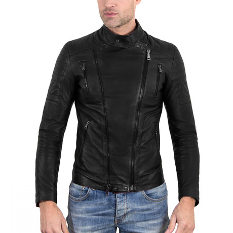 Kevin Biker Black Leather Jacket // Black (Euro: 48)