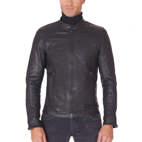 Brad Biker Leather Jacket // Black (Euro: 44)