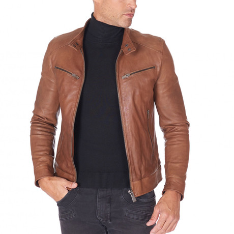 Hamilton Biker Tan Leather Jacket // Tan (Euro: 44)