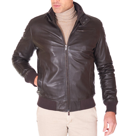 Thin Bomber Brown Leather Jacket // Brown (Euro: 44)