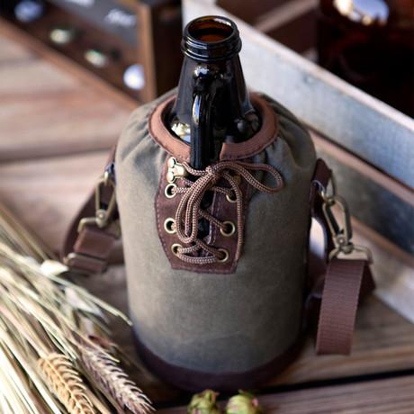 Growler Tote + 64oz Amber Glass Growler (Gray)