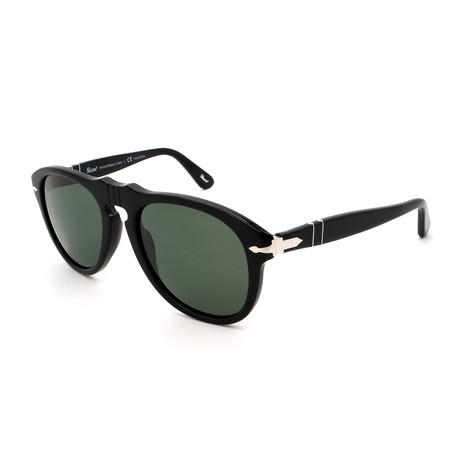 Persol // Men's Steve McQueen PO0649-95-58 Polarized Sunglasses // Shiny Black + Gray