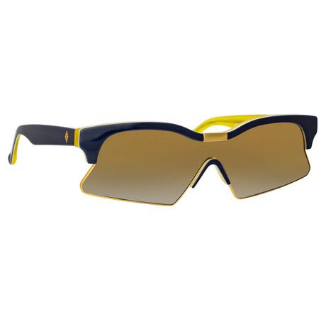 Marcelo Burlon // Unisex 3C2 Sunglasses // Black + Yellow Gold + Yellow Mirror
