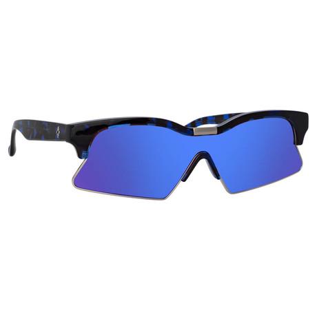 Marcelo Burlon // Unisex 3C3 Sunglasses // Blue Tortoiseshell + Silver + Blue