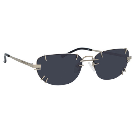Y/Project // Unisex 2C1 Sunglasses // Black + White Gold + Solid Gray