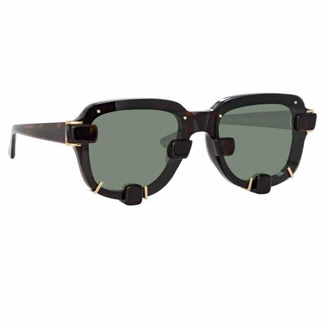 Y/Project // Unisex 5C3 Sunglasses // Dark Tortoiseshell + Antique Gold + Green