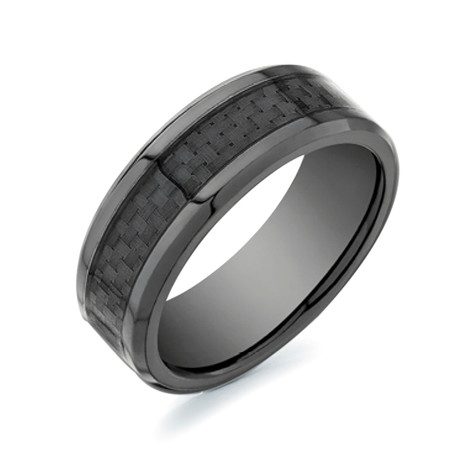 Polished Carbon Fiber Center Comfort Fit Ring // Black (5)